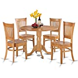 East West Furniture DLVA5-OAK-W 5-Piece Kitchen Nook Dining Table Set, Oak Finish Review