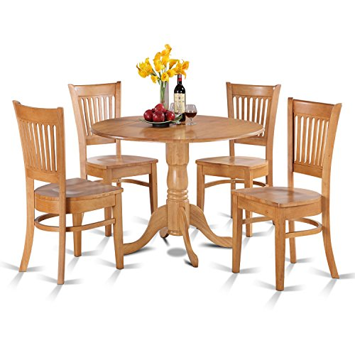 East West Furniture DLVA5-OAK-W 5-Piece Kitchen Nook Dining Table Set, Oak Finish