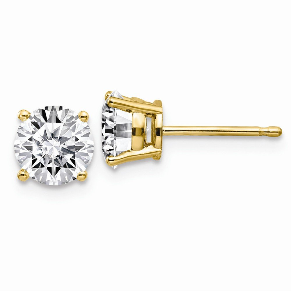 14K Yellow Goldy 1.75ct 6.0mm Round Moissanite 4-Prong Basket Post Earring