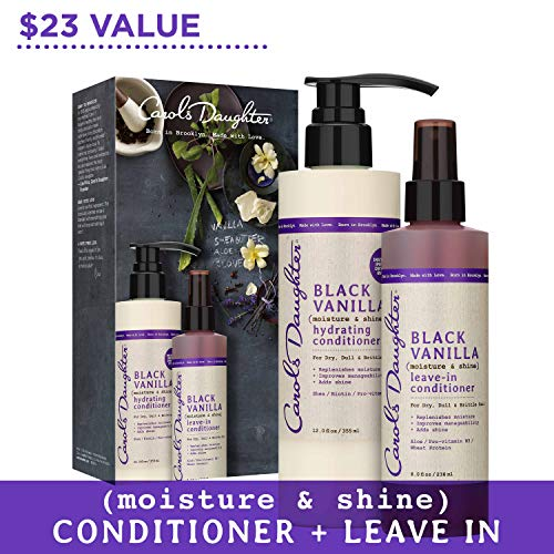 Carol's Daughter Black Vanilla Conditioner Gift Set With Co Wash Conditioner & Leave In Conditioner | for Dry Hair & Dull Hair | With Pro Vitamin B5