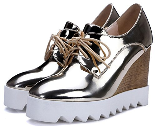 Idifu Womens Dressy Wedge Hoge Hak Veter Platform Schoenen Sneakers Goud