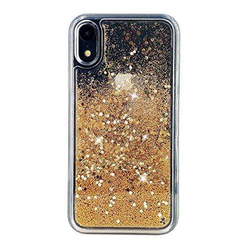 uCOLOR Gold Glitter Case Compatible for iPhone XR Waterfall Liquid Sparkling Quicksand Clear Protective Case Compatible for iPhone XR(6.1