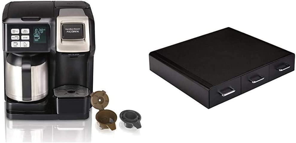 Hamilton Beach FlexBrew Thermal Coffee Maker, Single Serve & Full Pot, Compatible with K-Cup Pods or Grounds, Black and Stainless & AmazonBasics Coffee Pod Storage Drawer, 36 Pod Capacity
