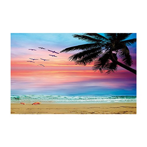WHITEMOOM Coconut Palm Trees Sunset Fish Tank Background Aquarium Sticker Wallpaper Decoration 24 x 16 inch by WHITEMOOM