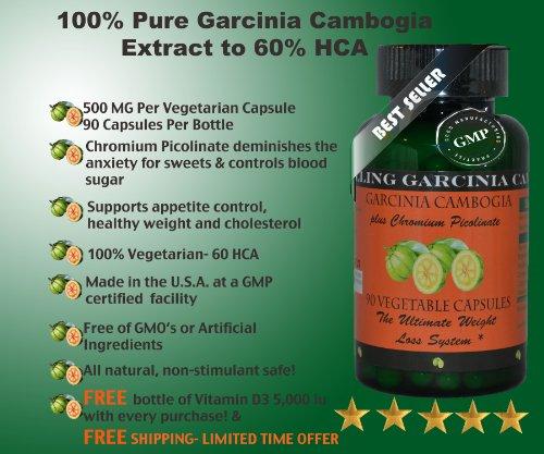 Гарцинии камбоджийской 60% HCA плюс хром пиколинат 90 Вегетарианская капсулы также бесплатные Витамин D 3 Plus 30 Softgels