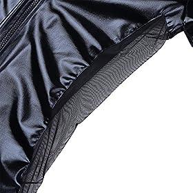 - 51bJdvmx FL - CHICTRY Men's Wet Look Black Leather Bodysuit Catsuit Mesh Splice Clubwear Costumes