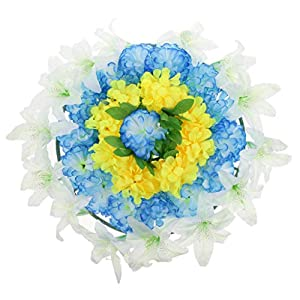 Homyl Simulation Lily Flower Wreath Memorial Flower Wreath Cemetery Tombstone Decoration 10