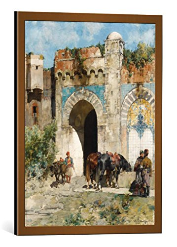 kunst für alle Framed Art Print: Alberto Pasini Tränken der Pferde - Decorative Fine Art Poster, Picture with Frame, 15.7x19.7 inch / 40x50 cm, Copper Brushed