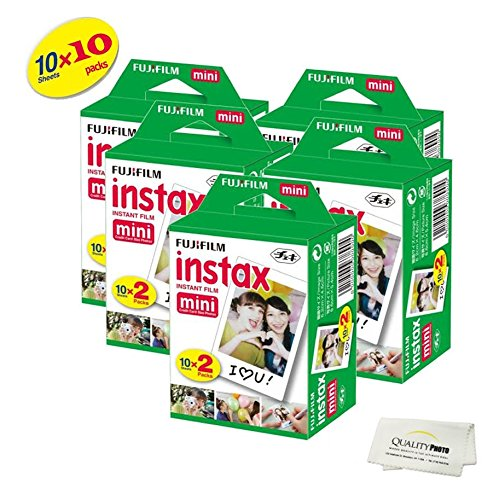 Fujifilm INSTAX Mini Instant Film (White) For Fujifilm Mini 8 & Mini 9 Cameras w/ Microfiber Cloth by Quality Photo