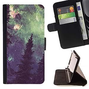 Vía Láctea Bosque Pintura Verde- Modelo colorido cuero de la carpeta del tirón del caso cubierta piel Holster Funda protecció Para Samsung Galaxy S5 Mini (Not S5), SM-G800