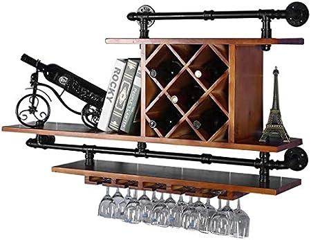 Botelleros-HU Colgante de Pared Europeo Madera Maciza Hierro Forjado Tubo de Agua Colgador de Pared Vinoteca Gabinete Estante de Vino