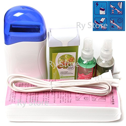 RY US Store 5 in 1 Roll-on Refillable Depilatory Hot Wax Heater Kiwi Fruit Waxing Roller Hair Removal Cartridge Kit Warmer Salon Full Tools Machine with 100 PCS Paper Strips, Pre Waxing Treatment Spray After Post Wax Skin Care Lotion 60ml