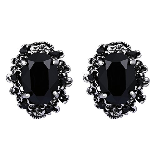 (BriLove Victorian Style Stud Earrings for Women Crystal Floral Scroll Cameo Inspired Oval Earrings Black Antique-Silver-Tone)