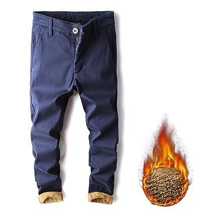Pantalones vaqueros forrados con vellón para hombre ...