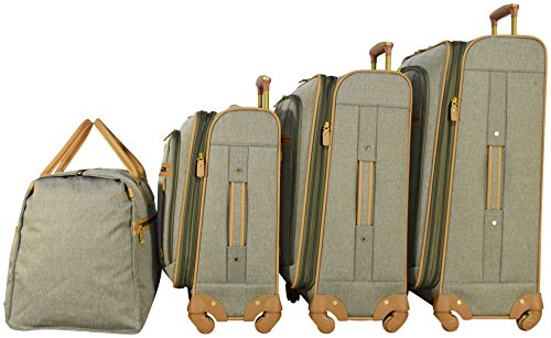 Nicole Miller New York Taylor Set of 4: Box Bag, 20'', 24'', 28'' Expandable Spinner Luggages (Green) by Nicole Miller (Image #2)
