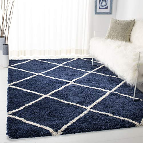 Safavieh Hudson Shag Collection SGH281C Navy and Ivory Moroccan Diamond Trellis Area Rug (5'1