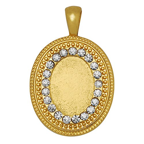 10PCS Zinc Alloy Cameo Cabochon Base Setting Pendants with Rhinestones,fit 1318mm oval cabochons, 18k gold