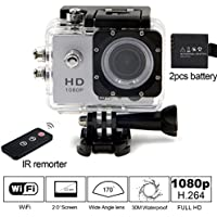 Besteye 2.0 Full HD 12MP Sports Action Camera WIFI 1080P with 170°A+ Wide Angle 30M Waterproof IR Remote Silver Sport DV with 2 Battery HDMI Mini Sport Camera