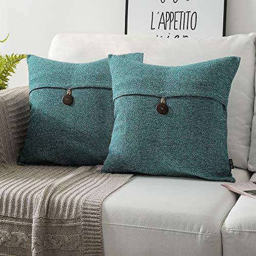 Cover Blue Cushion Cotton - Phantoscope Set of 2 Single Button Cotton Blend Throw Pillow Case Cushion Cover Lake Blue 22