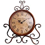 Classic Retro Clock, Decorative Desk Clock,Vintage Silent Desk Table Clock Non Ticking Quartz Movement Battery Operated, HD Glass Lens, Easy to Read Review