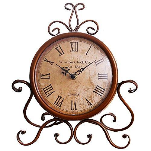 Classic Retro Clock, Decorative Desk Clock,Vintage Silent Desk Table Clock Non Ticking Quartz Movement Battery Operated, HD Glass Lens, Easy to Read