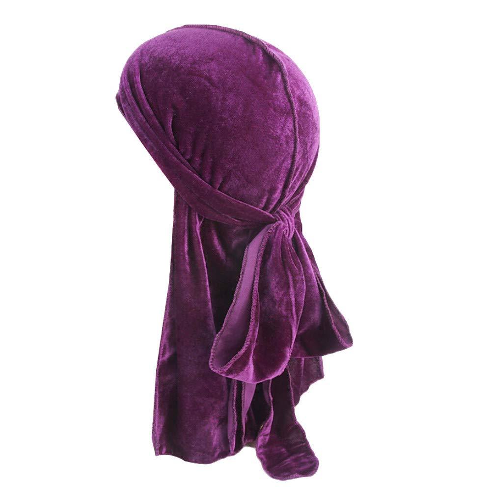Pink Diadia Fashion India Hat Muslim Turban Cancer Hat Hair Tail Men//Women Velvet Polyester Bandana Hat Durag Rag Tail Headwrap Headwear Gift