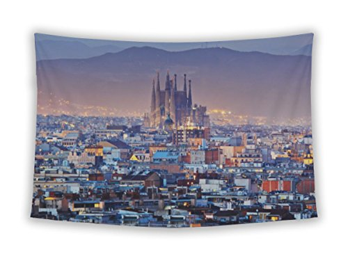 Gear New Wall Tapestry For Bedroom Hanging Art Decor College Dorm Bohemian, Barcelona City In Spain, 26x36 by Gear New