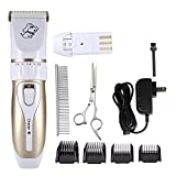 Sorliva Pet Clipper Grooming, Dog Clippers Kits Pet Hair Remover Shaver Razor Low Noise Electric Rechargeable Cordless Trimmer Blades Comb and Scissor for Dogs & Cats (White)