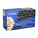 The Christmas Workshop 960 LED Chaser Cluster String Lights, Warm White