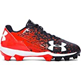 Under Armour Kids Boy's UA Leadoff Low RM Jr. Baseball (Toddler/Little Kid/Big Kid) Black/Phoenix Fire Sneaker 6 Big Kid M