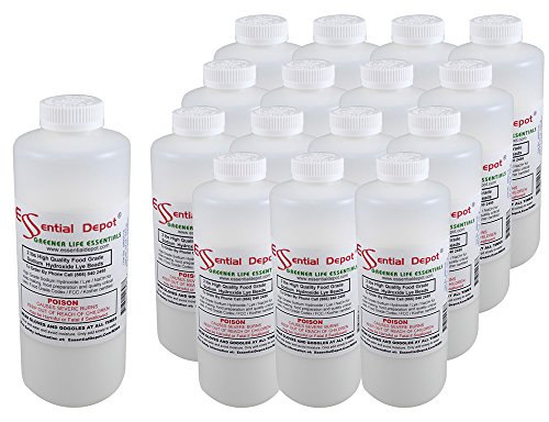 (ESSENTIAL DEPOT 32 lbs Food Grade Sodium Hydroxide Lye Evenly-Sized Micro Pels (Beads or Particles) Made of Pure Sodium Hydroxide - 16 x 2lb Bottles - Lye Drain Cleaner)