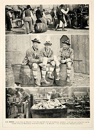 1914-print-munich-germany-biergarten-beer-garden-steins-barrels-bavaria-costume-original-halftone-pr