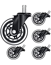 Runtodo 5Pcs Office Chair Caster 3 Inch Office Chair Wheel Replacement Game Chair Universal Wheel Soft Safe Rollers(11X22)