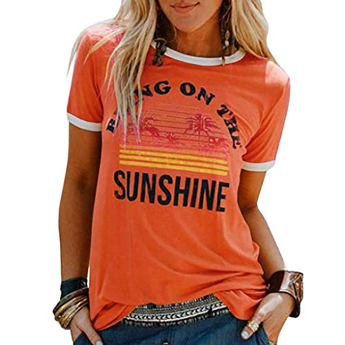HAALIFE◕‿Womens Bring On The Sunshine Graphic Tees Letter Printed Casual Loose Summer T-Shirt -