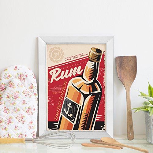 Quadro Decorativo Bebida Vintage Rum 22x32cm Moldura Branca