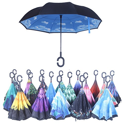 Double Layer Wind Proof, UV Proof Reverse Folding Inverted Umbrella Travel Umbrella...
