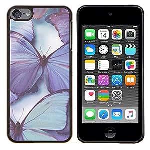 Mariposa púrpura Blue Spring Naturaleza- Metal de aluminio y de plástico duro Caja del teléfono - Negro - iPod Touch 6