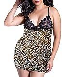 Women's Plus Size Lace Leopard Print Babydoll Teddy Chemise Lingerie Babydoll Strap Sleepwear (M, Black)