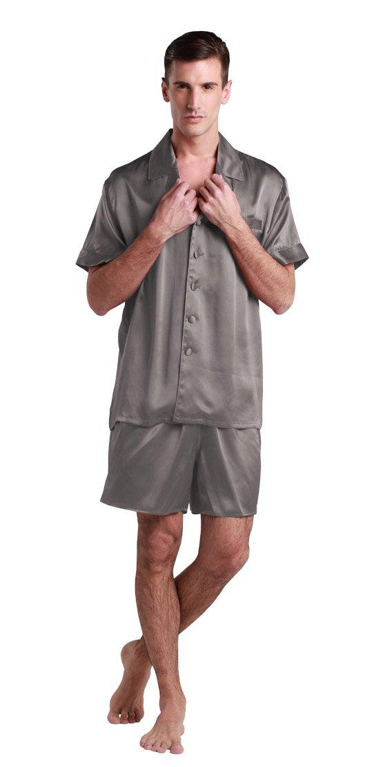 LILYSILK(TM) 22 Momme Men's Short Silk Pajamas Set 100% Pure Silk Dark Gray XL
