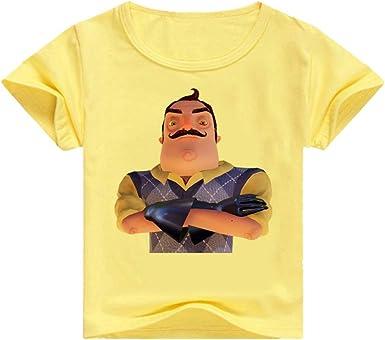 Unisex Hello Neighbor Camisetas Camiseta for niños Camiseta con Estampado en Color Liso Camisetas de Manga Corta Camiseta for niños: Amazon.es: Ropa y accesorios