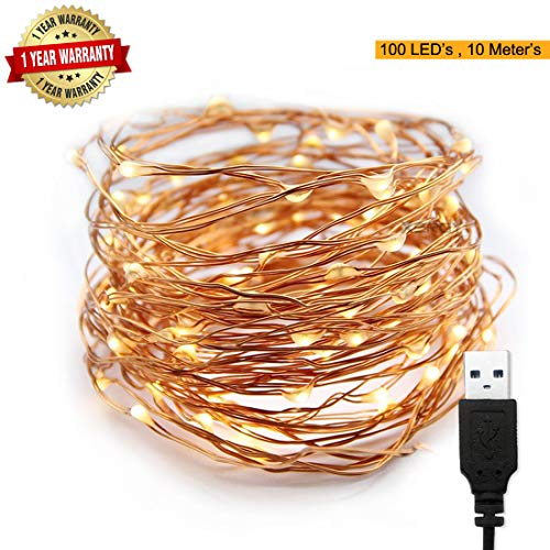 XERGY 10 m 100 LED's Waterproof Fairy Decorative String Light USB Powered 3 Copper Wires Home DIY Indoor/Outdoor for Party Diwali Interior Decoration (Warm White)