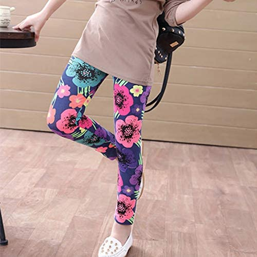 PingBei Girls Floral Printed Leggings Pants Elastic Trousers with Soft Breathable Fabric for Spring Summer