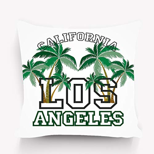 zexuandiy Throw Pillows Stylish Chic Pillowcases Zippered 18X18 Inch Los Angeles Palm Beach Typography Stamp California -