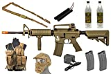Best Airsoft Gun Starter Package w/ Vest, Face Mask, Airsoft Gun, etc (Tan)