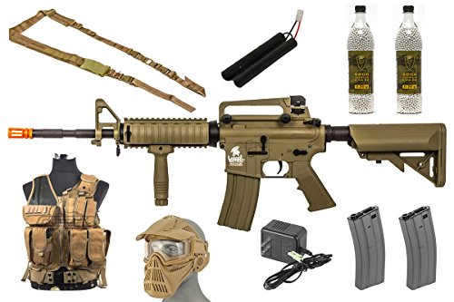 Best Airsoft Gun Starter Package w/ Vest, Face Mask, Airsoft Gun, etc (Tan) by Soft Air
