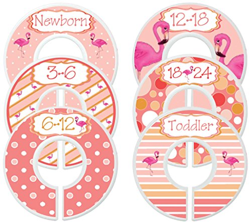 Mumsy Goose Baby Nursery Closet Dividers, Closet Organizers, Baby Girl Clothes Dividers Coral Pink Flamingo (Flamingo Coral)