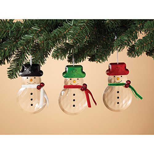 Acrylic Snowman Christmas Tree Ornaments with Top Hat, Se...