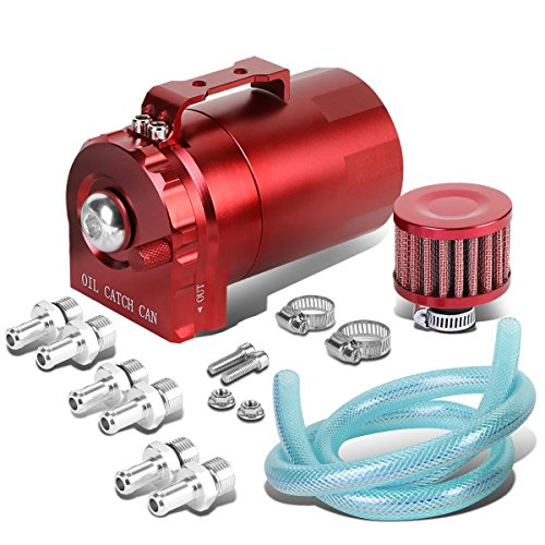 Universal Aluminum Dual Chamber Filter Reservoir Breather Baffled Oil Catch Tank (Red)