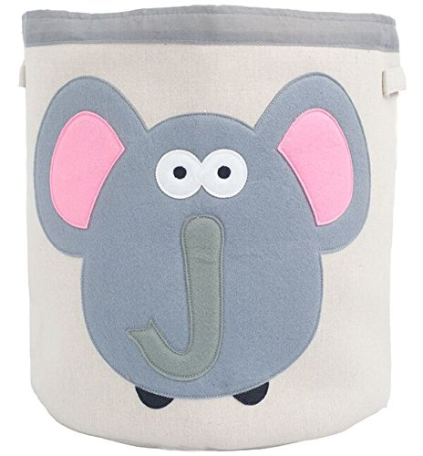 Grey Bee Animal Theme Collapsible Canvas Storage Bin for Kids, Grey - Elephant - Preschooler Shelf Storage