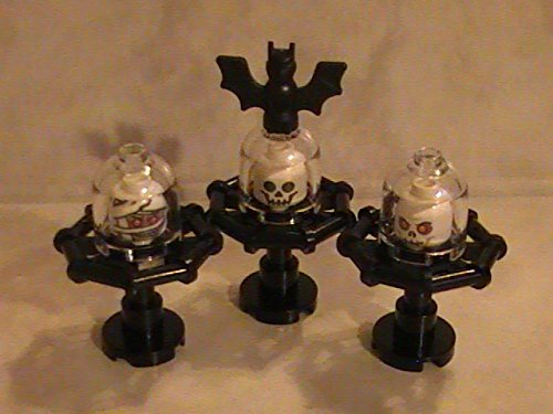 (Lot of 3 Lego Halloween Custom Minifigure Skeleton Heads under glass on pedestals with)